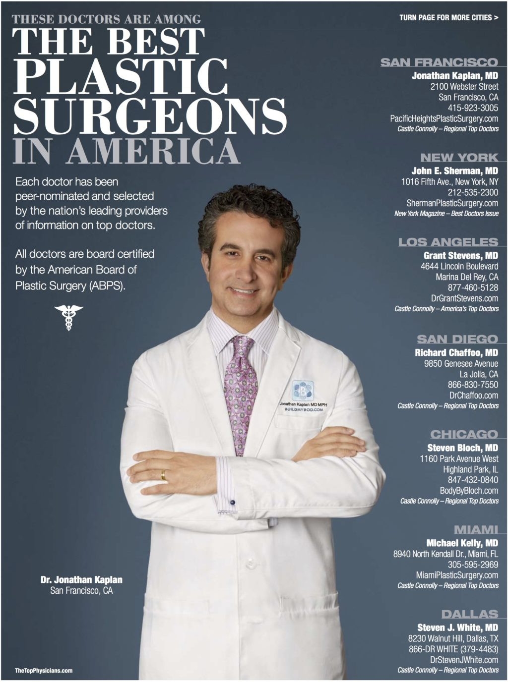 Dr Kaplan Among The Best Plastic Surgeons In America Pacific Heights Plastic Surgery